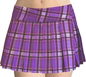 806134caa34 Purple Plus Size Schoolgirl Tartan Plaid Pleated Mini Skirt Purple