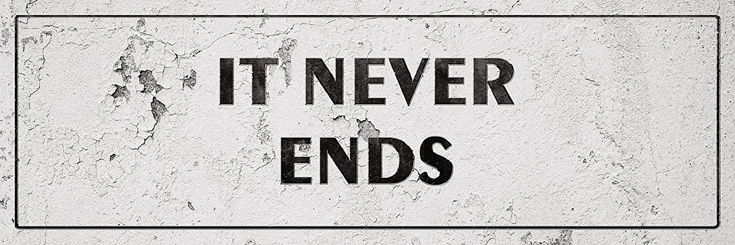 iCandy Combat Vintage It Never Ends Laundry Room Distressed Sign Wall Decor for Country Farmhouse On 12x36 Plastic