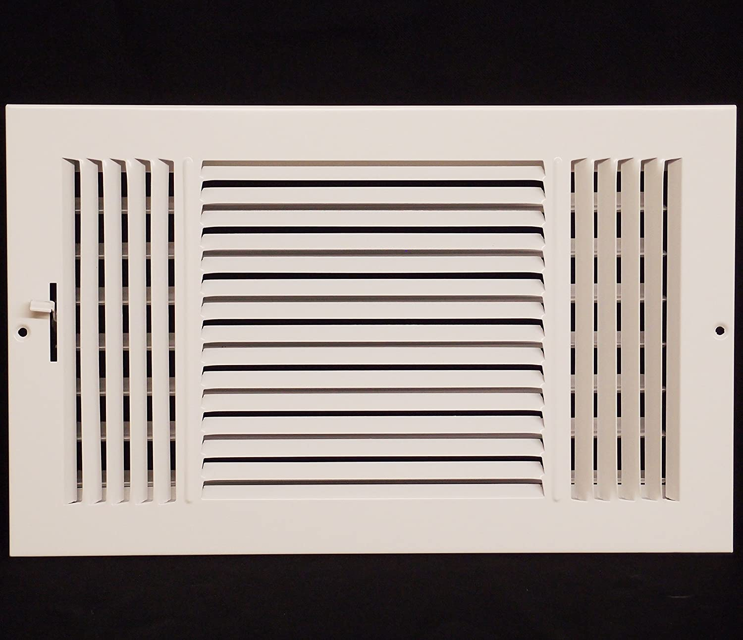 "12"" x 8"" 3-WAY SUPPLY GRILLE - DUCT COVER & DIFUSER - Flat Stamped Face"