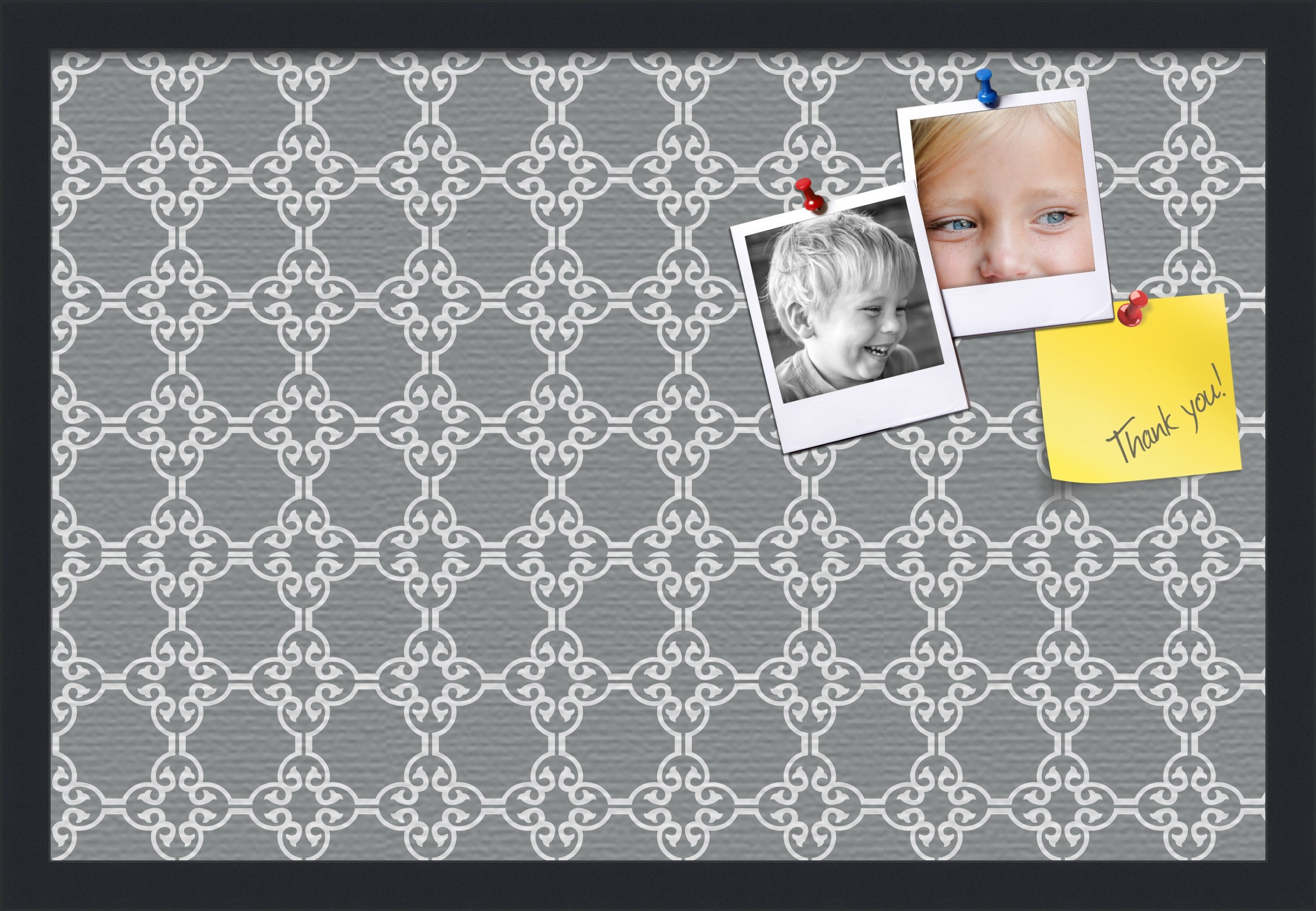 PinPix custom printed pin cork bulletin board made from canvas, Grey and White Graphic Lava Pattern 24 x 16 Inches (Completed Size) and framed in Satin Black (PinPix-231)
