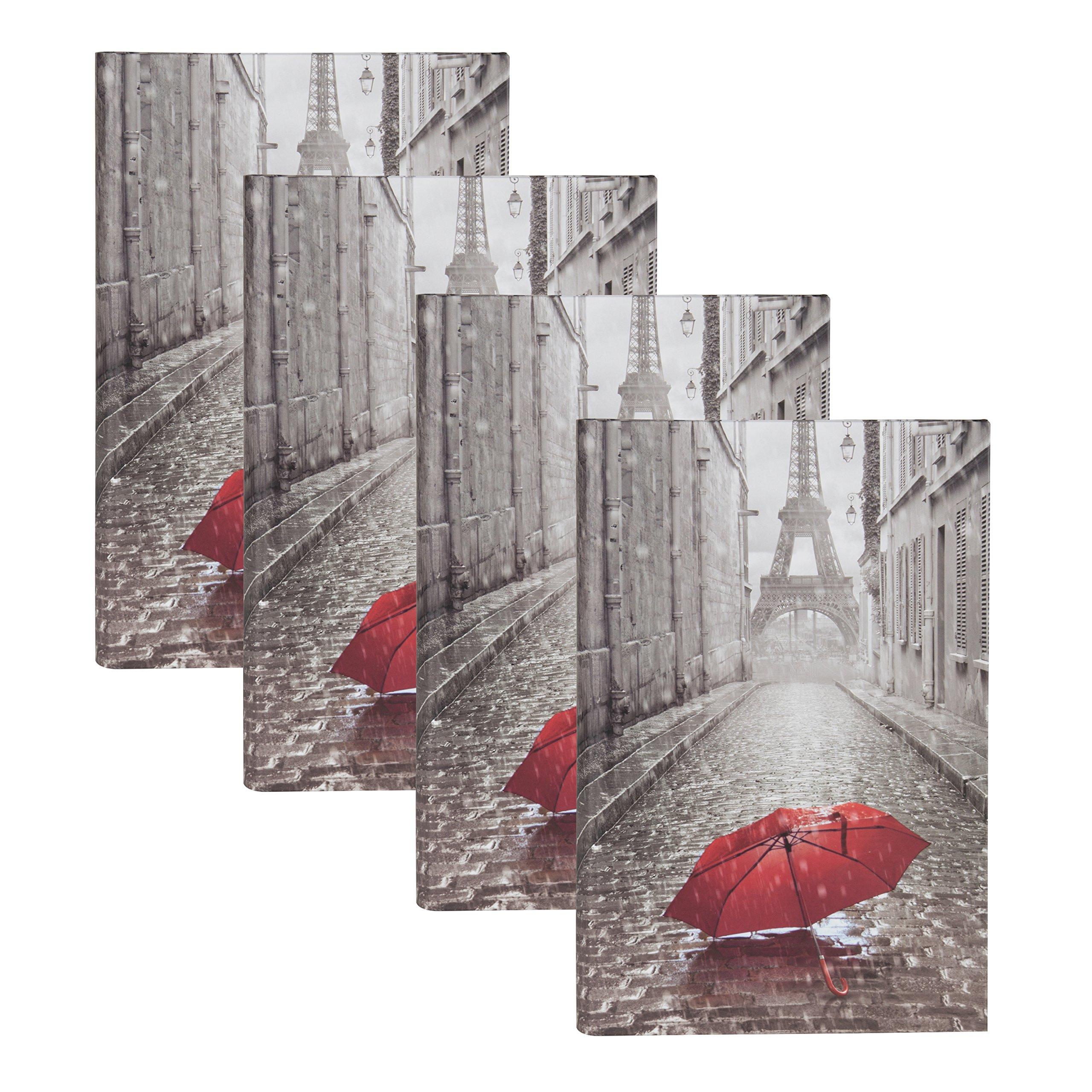 DesignOvation Paris with Red Umbrella Photo Album, Holds 300 4x6 Photos, Set of 4