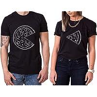 WhyKiki Pizza King Queen T-Shirt PartnerLook Couple Set Doux pour Les Couples comme des Cadeaux de