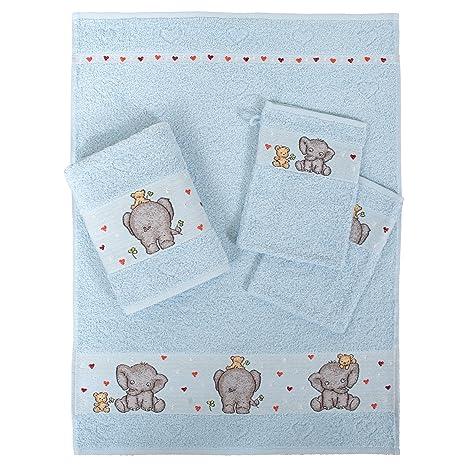 Dyckhoff 1479913400 Elefant - Juego de toallas infantiles (2 toallas de mano: 50 x