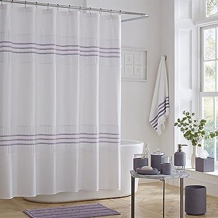 Five Queens Court Laney 100 Cotton Heather Stripe Textured Shower Curtain Purple