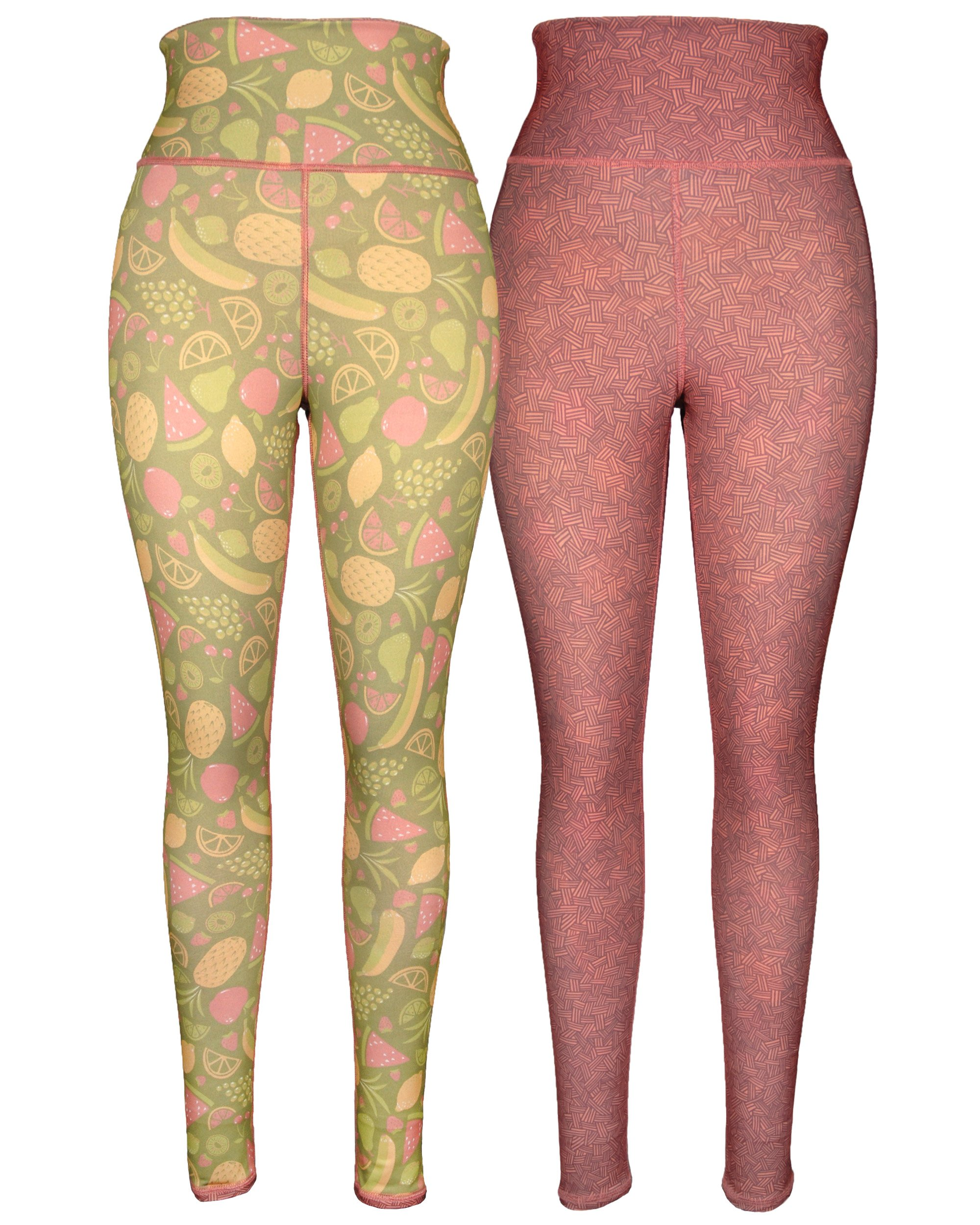 Green 3 Novelty Reversible Leggings - Womens Recycled Leggings, Made in The USA (Fruity & Crosshatch, Small/Medium)