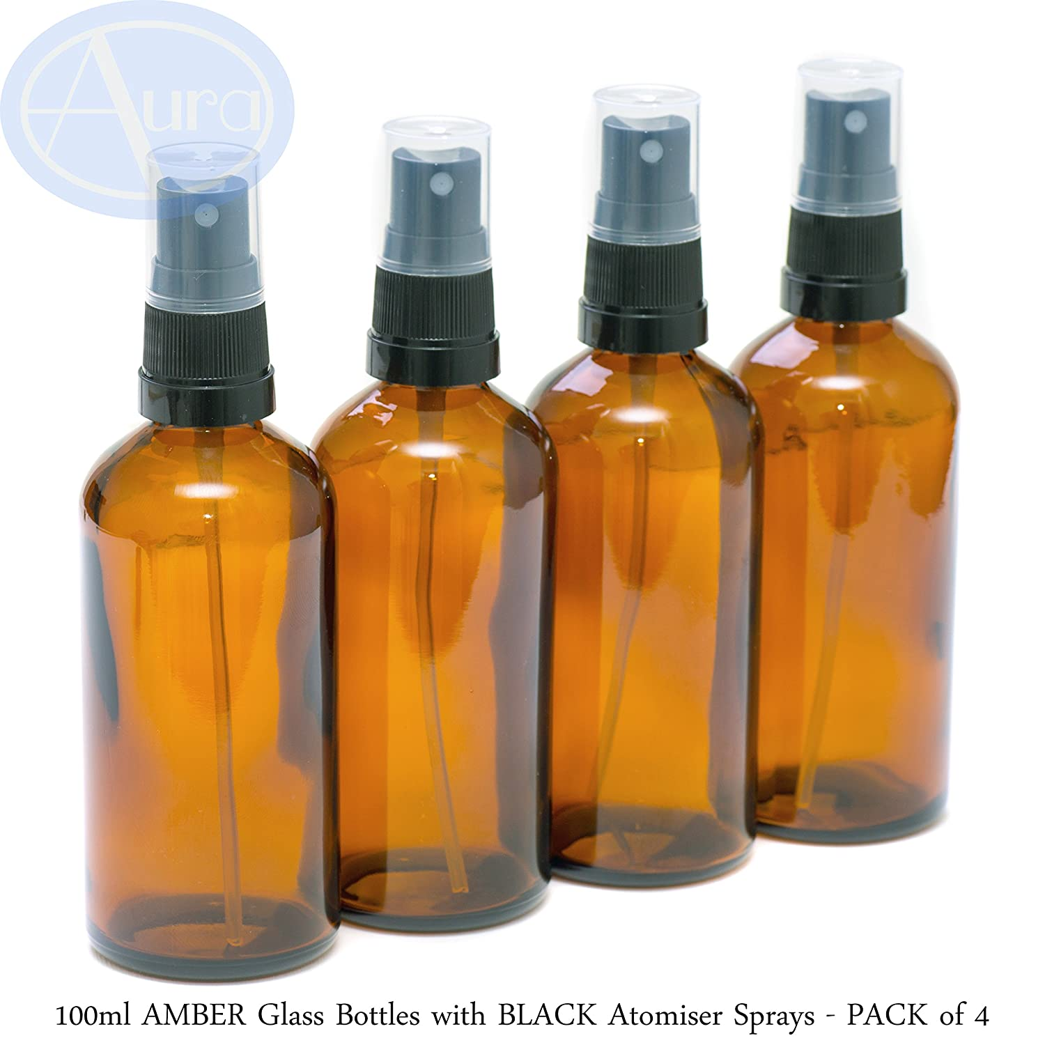 PACK of 4 - 100ml AMBER GLASS Bottles with Black ATOMISER Sprays. Essential Oil / Aromatherapy Use Aura Essential Oils Y100A4