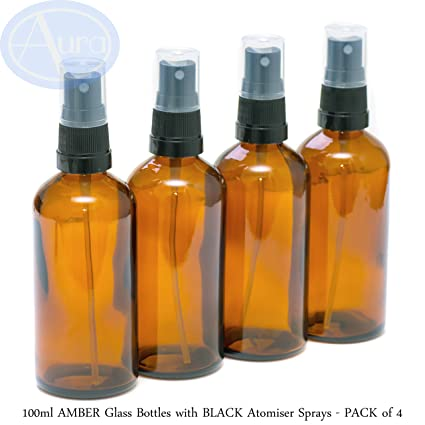 PACK of 4 - 100ml AMBER GLASS Bottles with Black ATOMISER Sprays. Essential Oil /