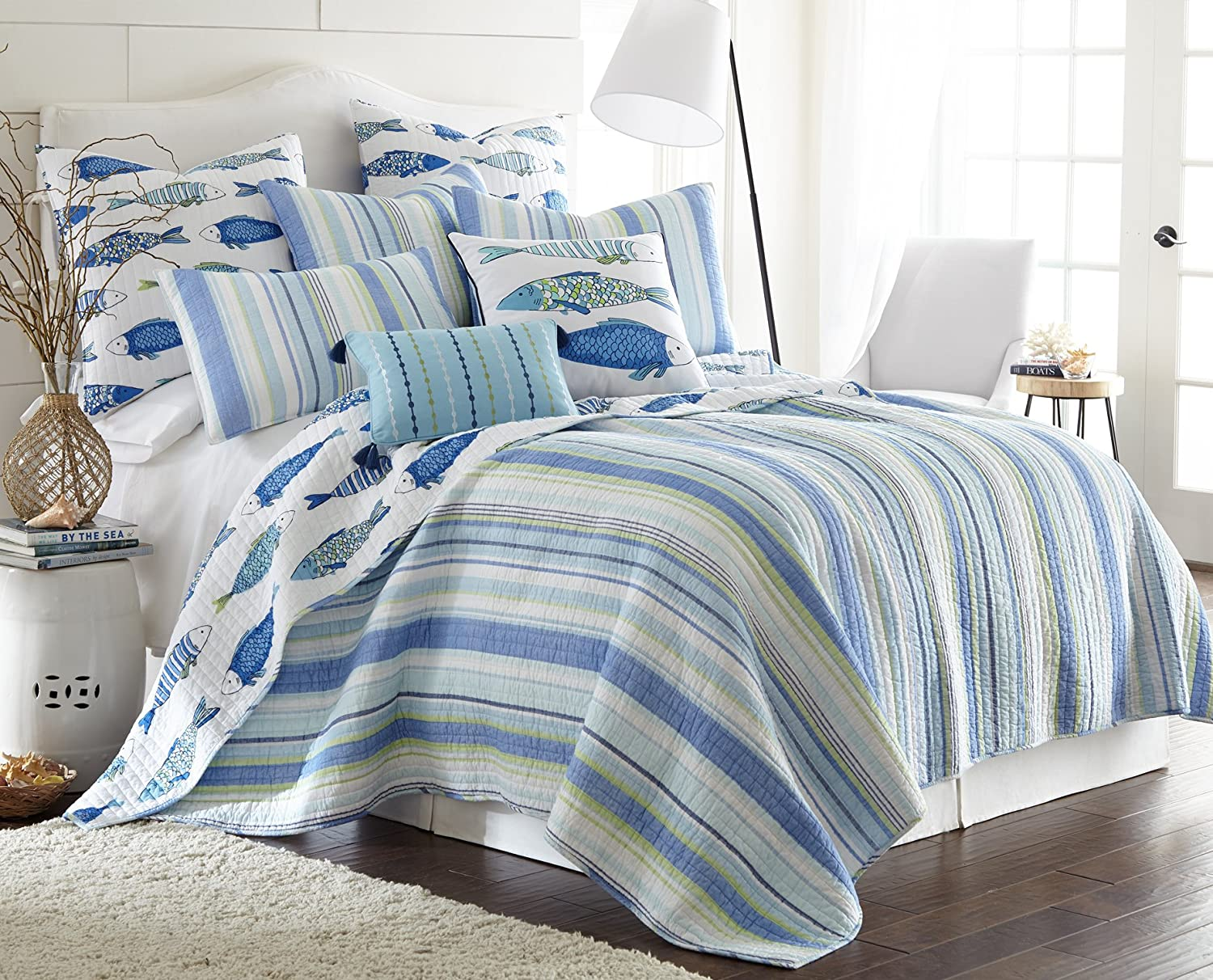 Levtex Home- Catalina Quilt Set -Twin Quilt + One Standard Pillow Sham - Striped Coastal Pattern in Blues and Greens - Quilt Size (68 x 86) and Pillow Sham Size (26 x 20)- Reversible Pattern -Cotton
