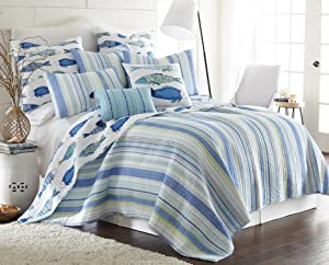 Levtex Catalina Fish Full/Queen Cotton Quilt Set, Blue