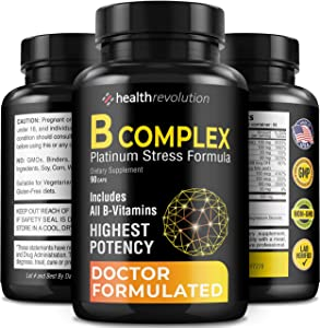 Super B Complex Vitamins - All B Vitamins Including B12, B1, B2, B3, B5, B6, B7, B9, Folic Acid - Vitamin B Complex Supplement for Stress, Energy and Healthy Immune System - 90 Vegetarian Capsules