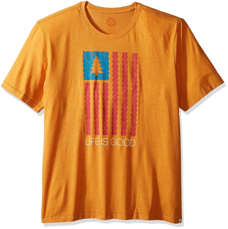 Life is Good Cool Lig Flag with Tree Tee Artisan Gold