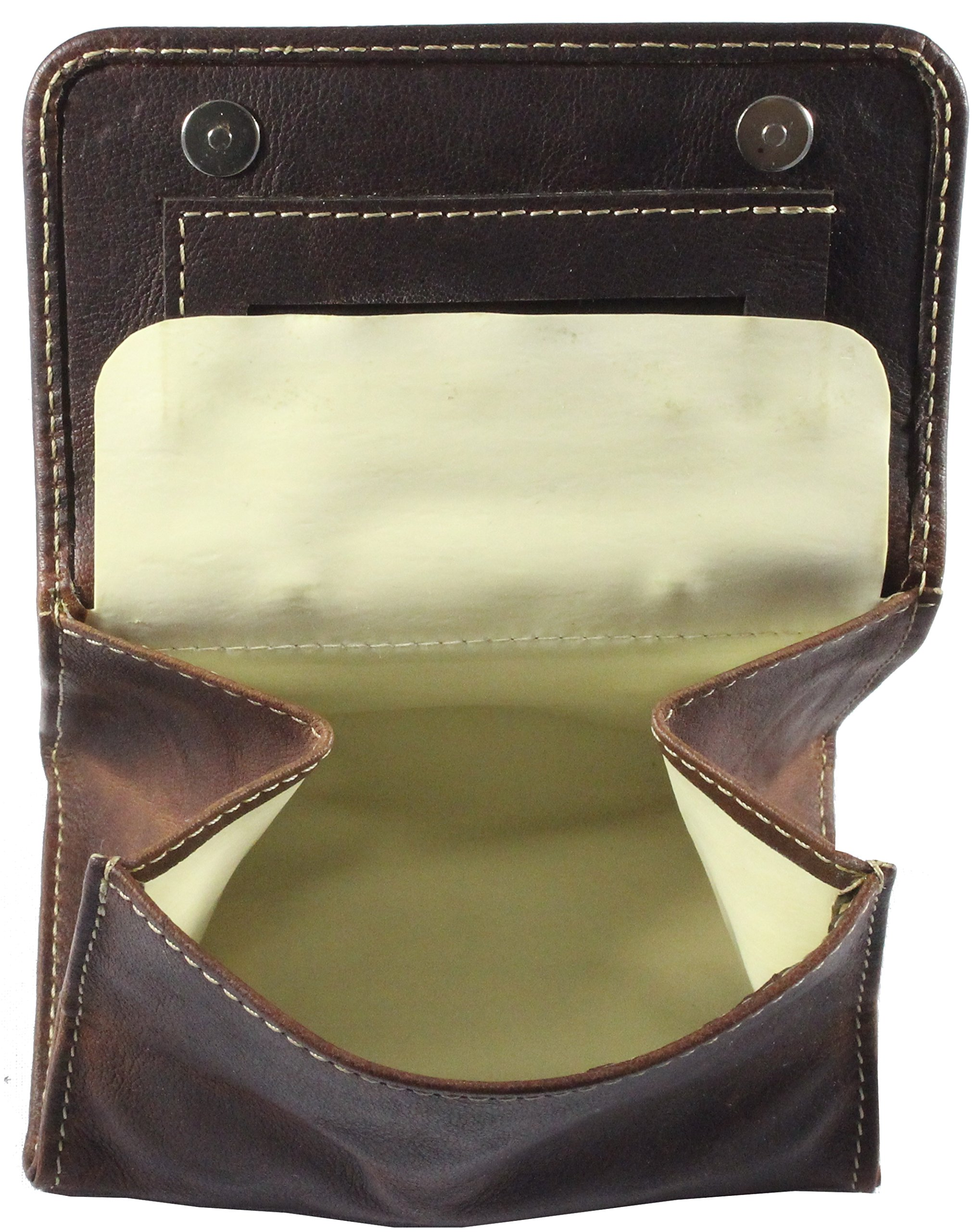 Tobacco Pouch ''SHAG'' | Made of Buffalo Leather | Pipe Brown | By Alpenleder (Brandy)