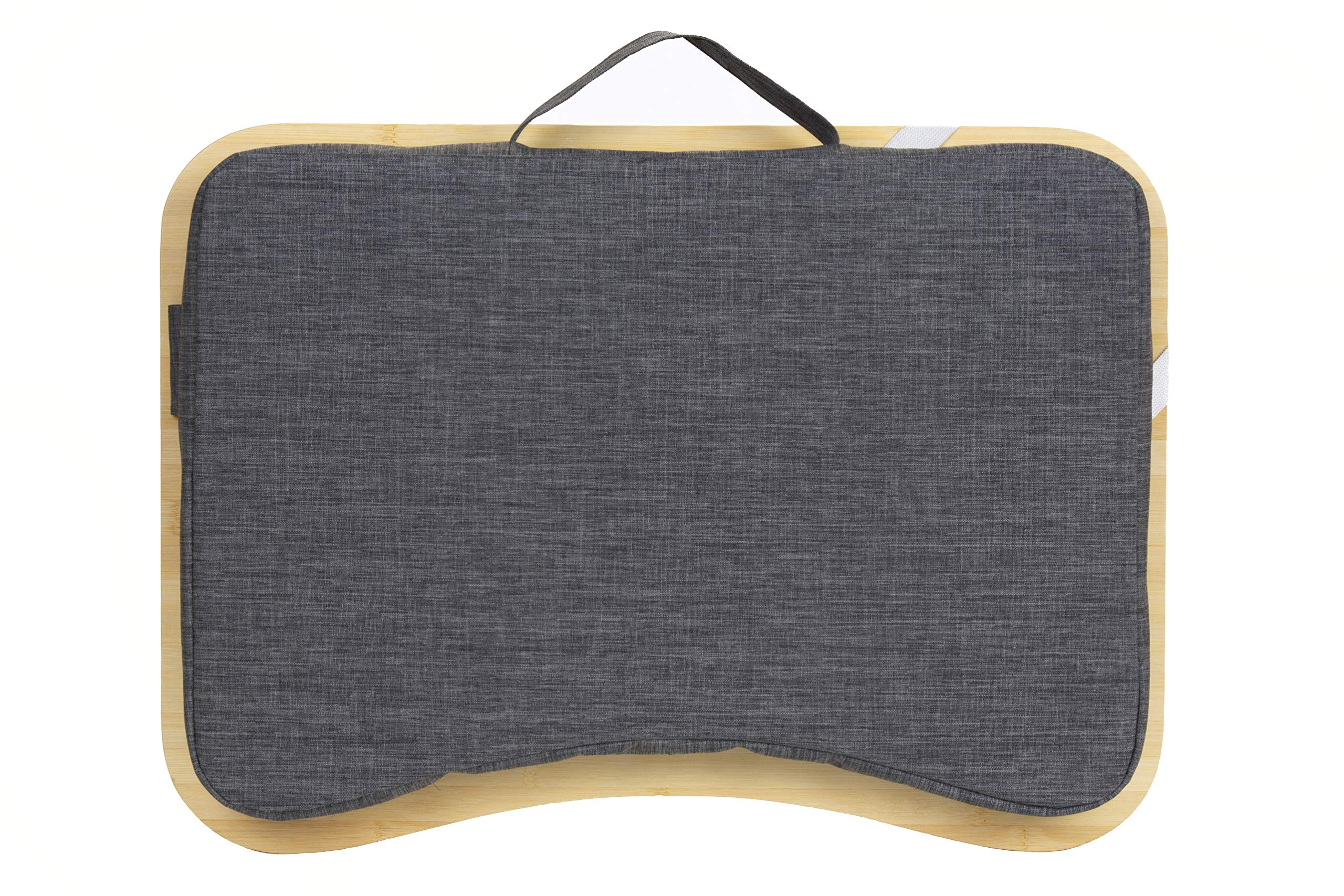 Lap Desk by Hultzzzy - Large 100% Natural Bamboo Surface - Fits up to 17 Inch Laptops - 15'' Tablets - Pen & Phone Holder - Mouse Pad Accessible - Cushion Foundation by Hultzzzy (Image #7)