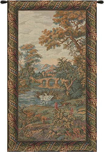 Swan in the Lake, Vertical Italian Tapestry Wallhanging