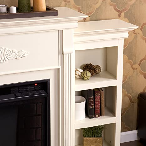 Amazon.com: Tennyson Electric Fireplace w/ Bookcases - Ivory ...