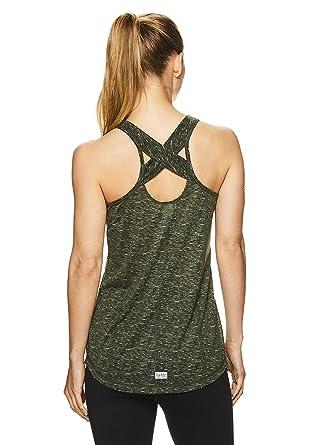 a639d8f6d59e9 Amazon.com  Nicole Miller Active Women s Criss Cross Strappy Racerback Tank  Top w Back Keyhole Cutout  Clothing