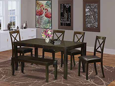 Amazon Com 6 Pc Dining Table With Bench Kitchen Tables Plus 4 Dining Chairs And Bench Furniture Decor