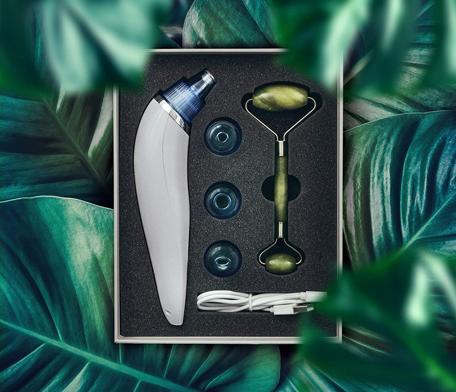 Blackhead Remover Vacuum and Natural Jade Stone Roller All in One Clean and Care Beauty Kit with Storage Box Electric Suction Pore Cleaner and Extractor with Skin Soothing Treatment Beauty Device