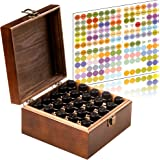 Stained and Finished Essential Oil Box, Holds 25 Bottles (Sizes 5-15ml) & 10ml Roller Bottles - Comes With 192 Colorful Essential Oil Labels- Foam Base To Protect The Glass On Your Bottles (Brown)
