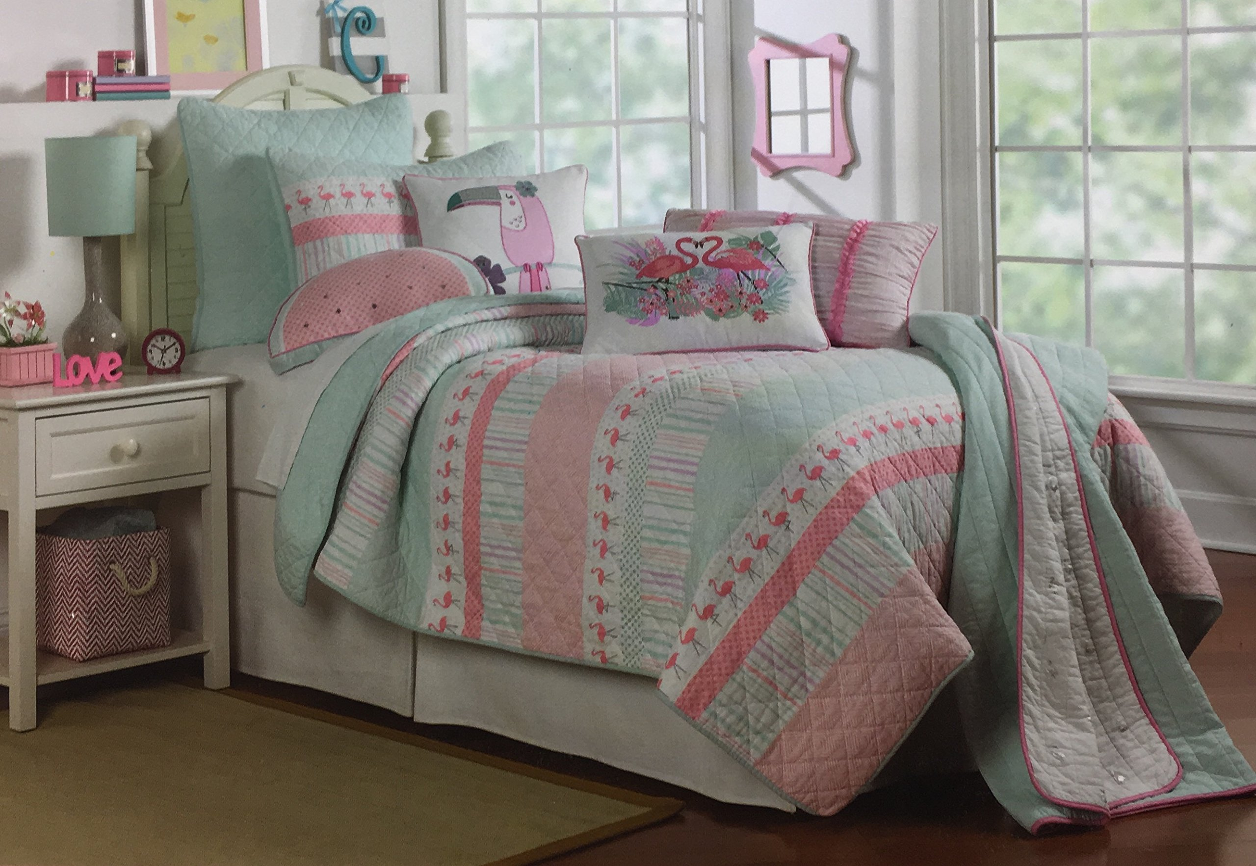 BOATHOUSE for kids 100% Cotton Reversible FULL/QUEEN Quilt Set ''Summer Flamingo'' Pink Mint Green White Multi Stripes Geometric Pattern