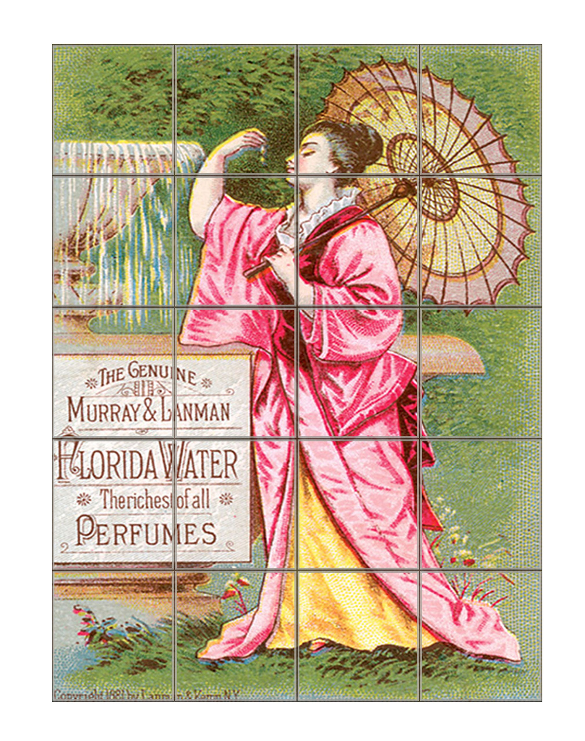 Woman With A Pink Dress Vintage Perfume Vertical Tile Mural Satin Finish 30''Hx24''W 6 Inch Tile by Style in Print