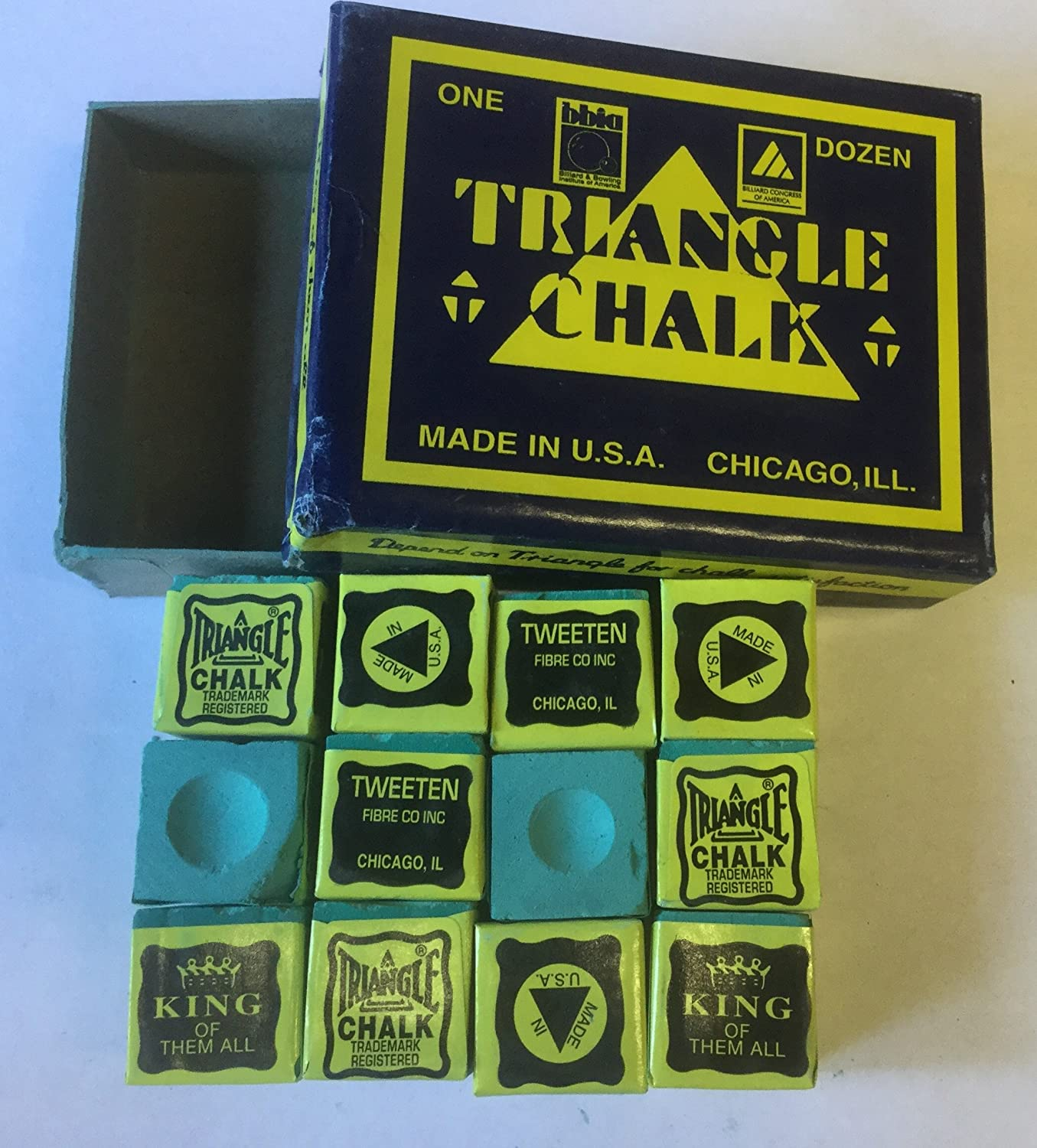 12 pcs World famous Triangle green Snooker Pool Chalk in genuine Triangle Box , not loose Triangle USA