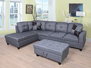 Amazon.com: Beverly Fine Furniture Sectional Sofa Set, Gray ...