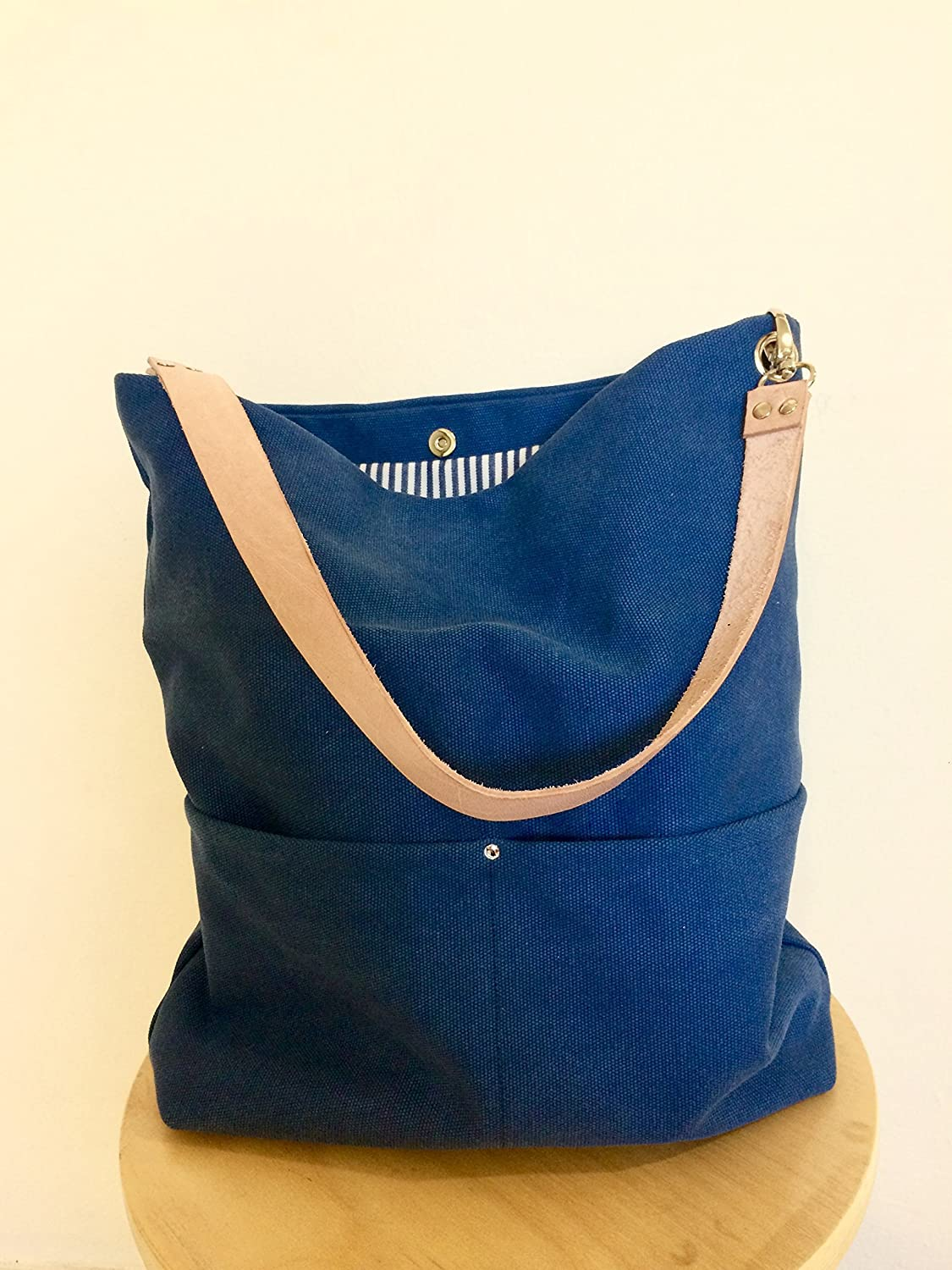 97e805646d Amazon.com  Blue Hobo Canvas Bag with Real Leather Strap