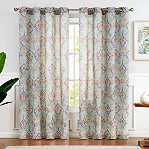 Damask Printed Curtains for Bedroom Multicolor Linen Textured Light Reducing Medallion Window Curtain Panels for Living Room 2 Panels 95-Inch Green