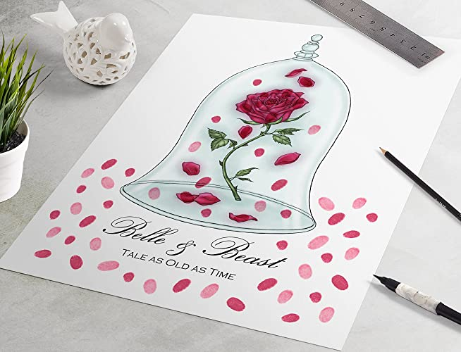Amazon.com: Enchanted Rose Wedding Guest Book: Beauty and the Beast ...