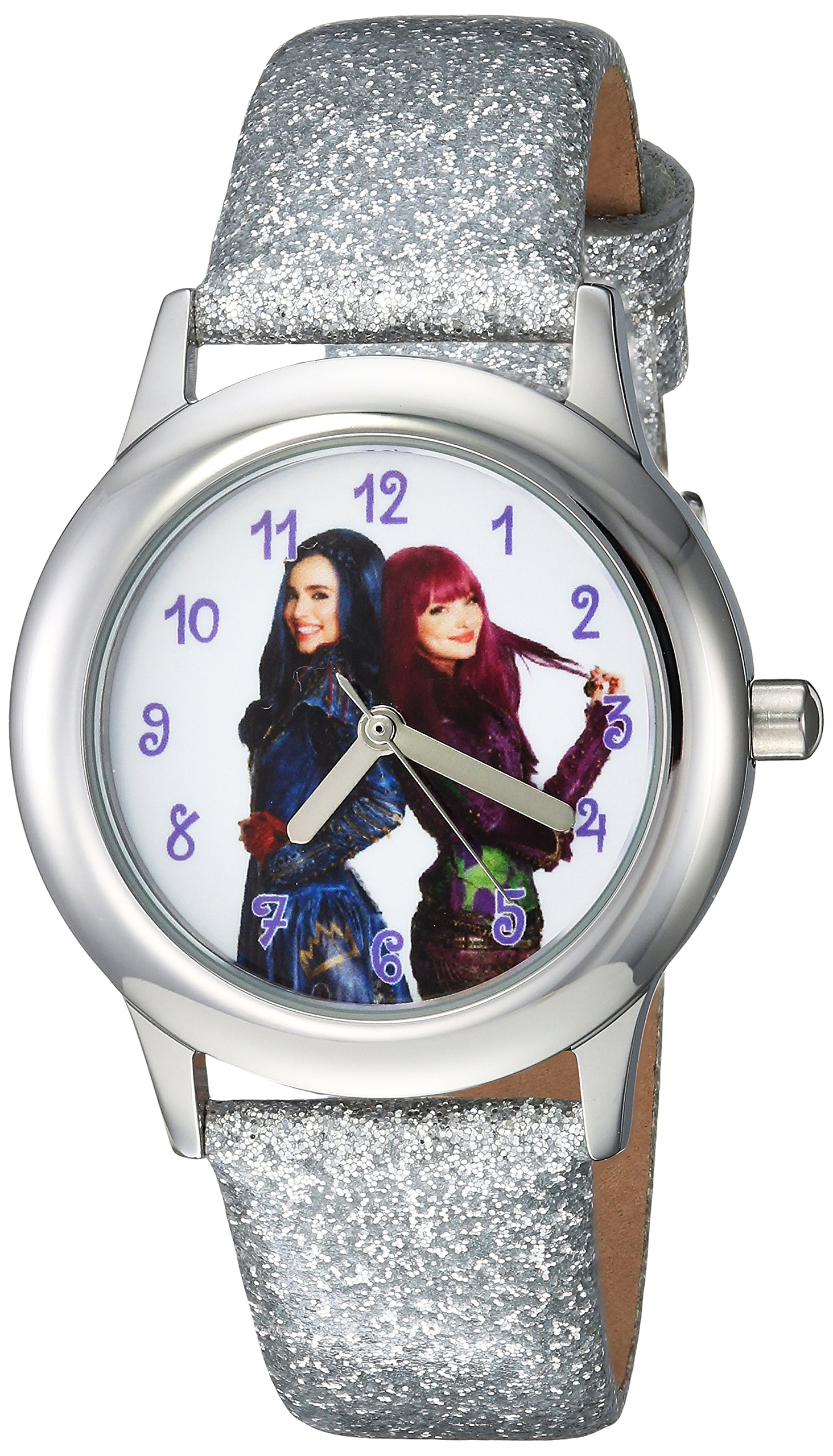 DISNEY Girls Descendants 2 Stainless Steel Analog-Quartz Watch with Leather-Synthetic Strap, Silver, 15 (Model: WDS000253) by Disney