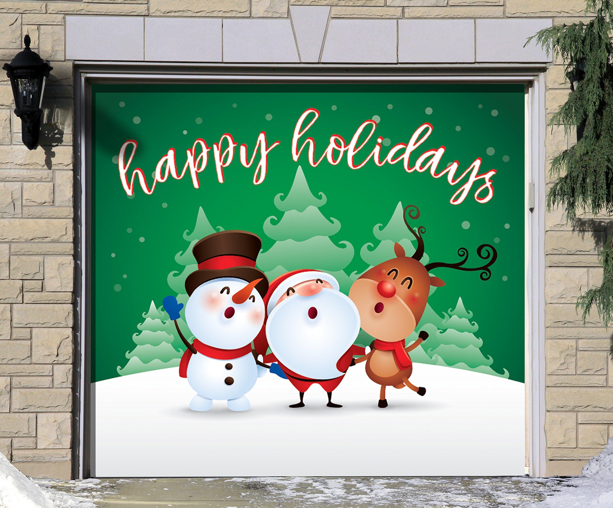 Outdoor Christmas Holiday Garage Door Banner Cover Mural Décoration - Christmas Characters Happy Holidays Winter - Outdoor Christmas Holiday Garage Door Banner Décor Sign 7'x8' -