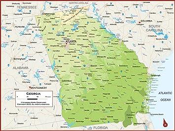 Georgia And Florida Map.Amazon Com Academia Maps Georgia State Wall Map Fully