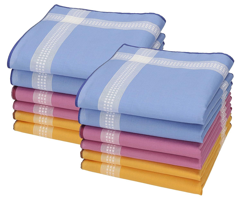 BETZ 12 fazzoletti da donna, design Chanelle, misura 30 x 30 cm, 100% cotone Color Dessin 88