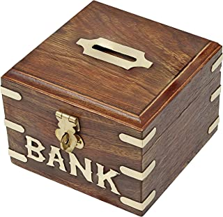 SKAVIJ Wooden Piggy Bank, Money Safe Fun Toy for Saving and Storing Coins Cash Box Gifts for Kids