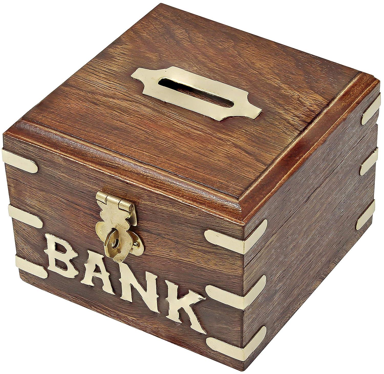 SKAVIJ Banco De Dinero De Madera Hecho A Mano para Niños