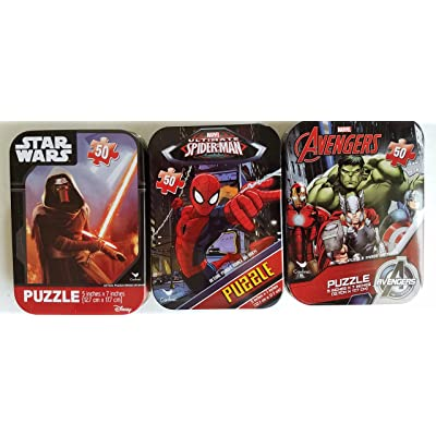 3 Collectible Boys Mini Jigsaw Puzzles in Travel Tin Cases: Marvel Disney Kids Star Wars, Avengers, Spiderman Gift Set Bundle (50 Pieces): Toys & Games