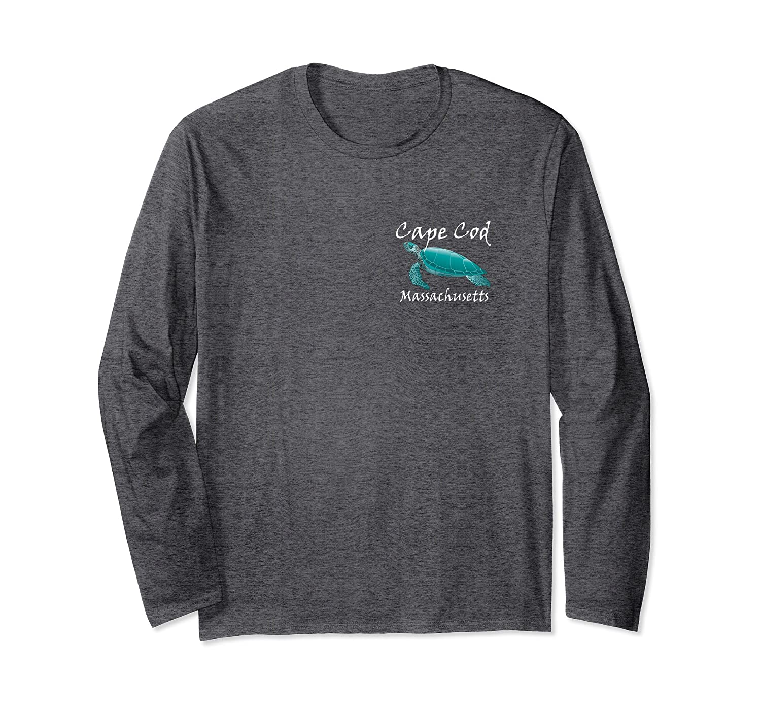 Cape Cod Apparel: Cape Cod Massachusetts Sea Turtle Long Sleeve T-Shirt-prm