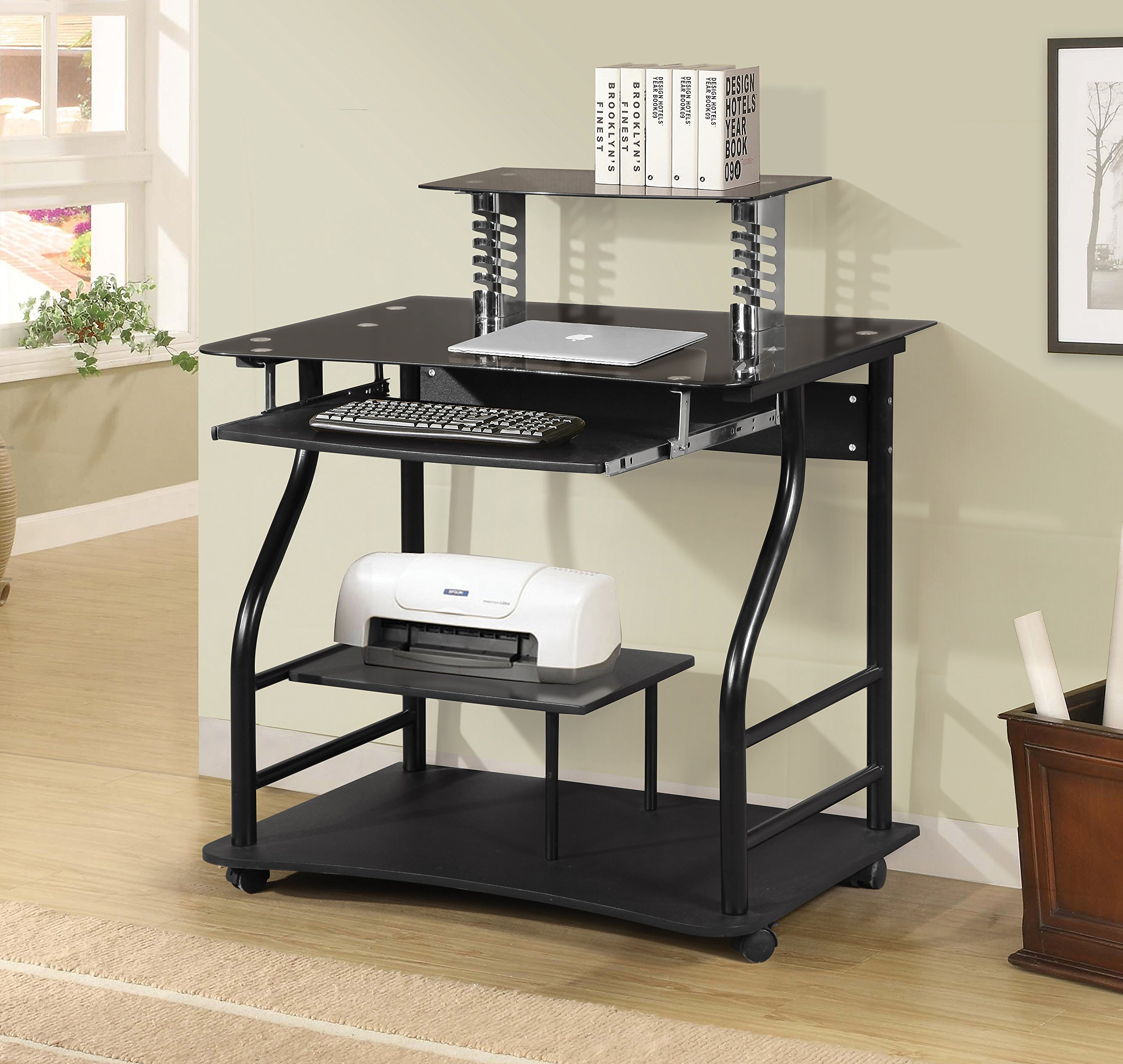 Home Source Industries AMT-710 Computer Cart on Casters, Glass Black