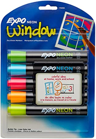 Expo Dry Erase Neon Markers | Bullet Tip Dry Erase Markers | Whiteboard Markers, Assorted Colors, 5 Count