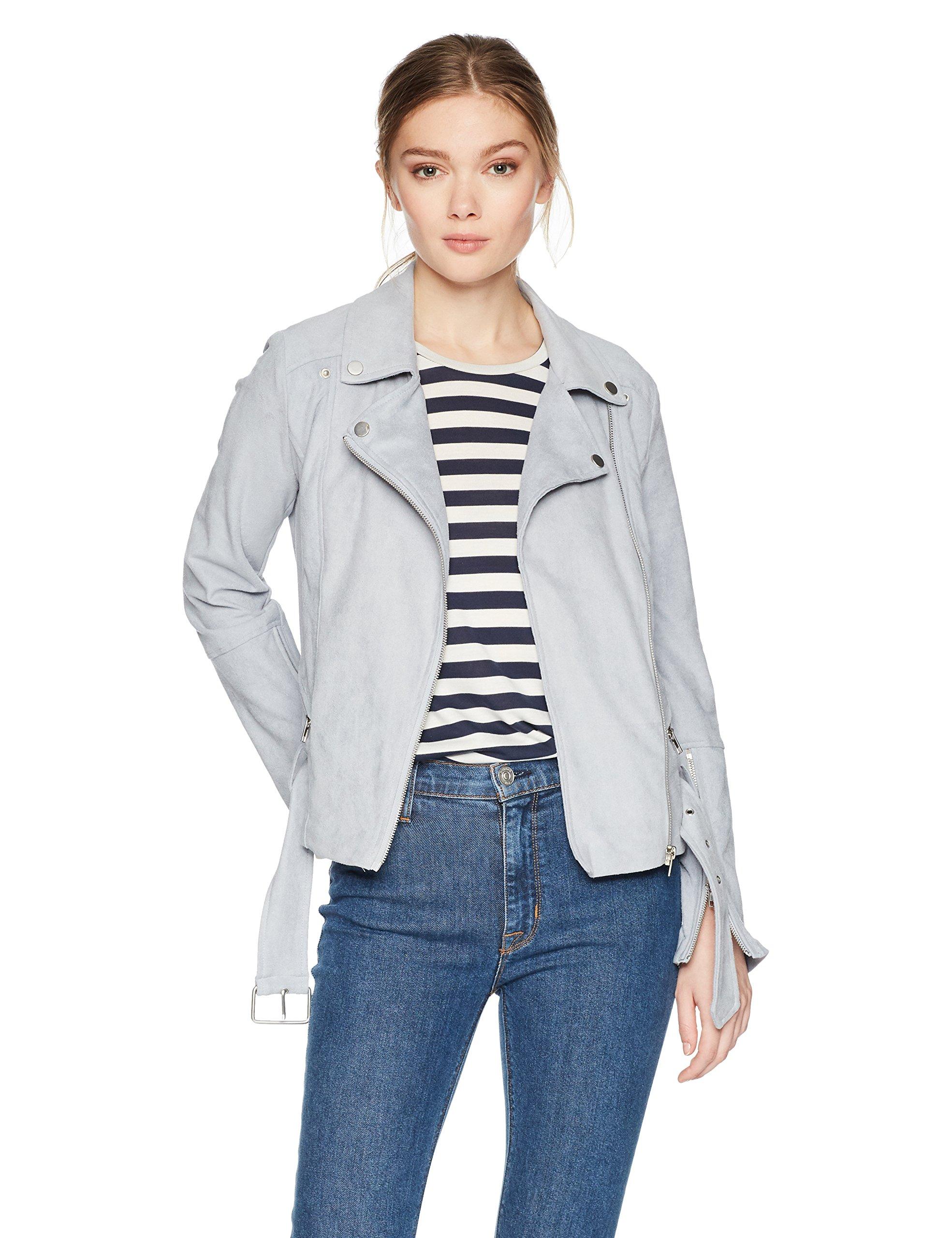 Lyssé Women's Cory Moto Suede Jacket, Lunar Blue, S