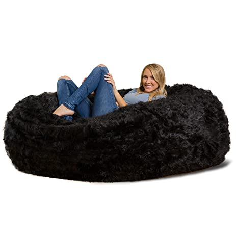 Comfy Sacks 6 Ft Lounger Memory Foam Bean Bag Chair Black Furry