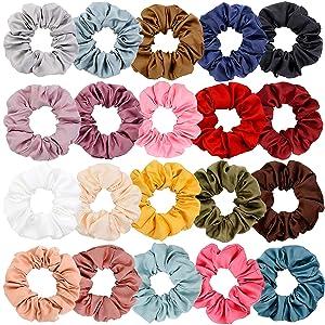 Chloven 20 Colors Large Satin Hair Scrunchies Elastic Hair Bobbles Ponytail Holder Hair Scrunchy Vintage Hair Ties Accessories for Women Girls