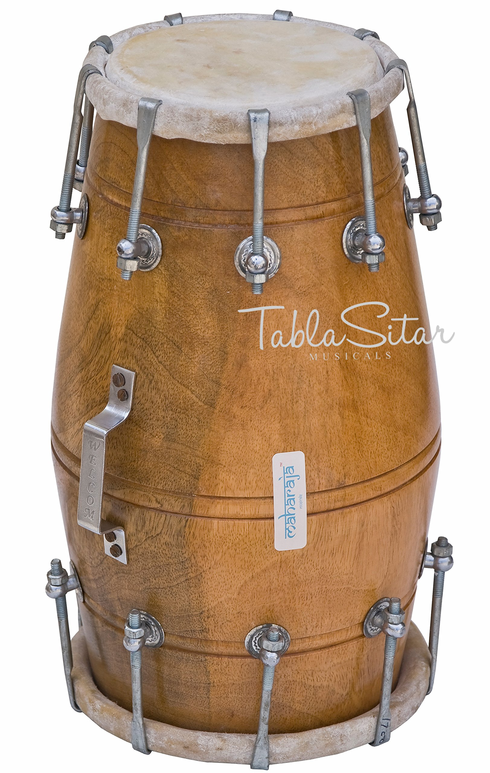Maharaja Musicals Dholak Drum, Mango Wood, Bolt-tuned, Padded Bag, Spanner, Dholki Musical Instrument (PDI-AJD) by Maharaja Musicals