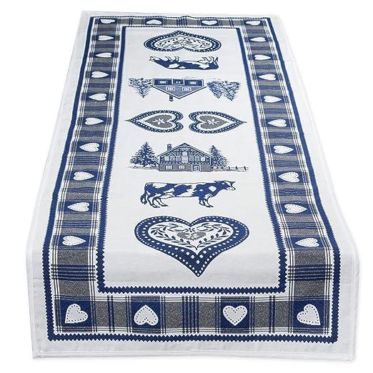 Precioso camino de mesa, Rústico, ciervo y acero Blanco en Azul ...
