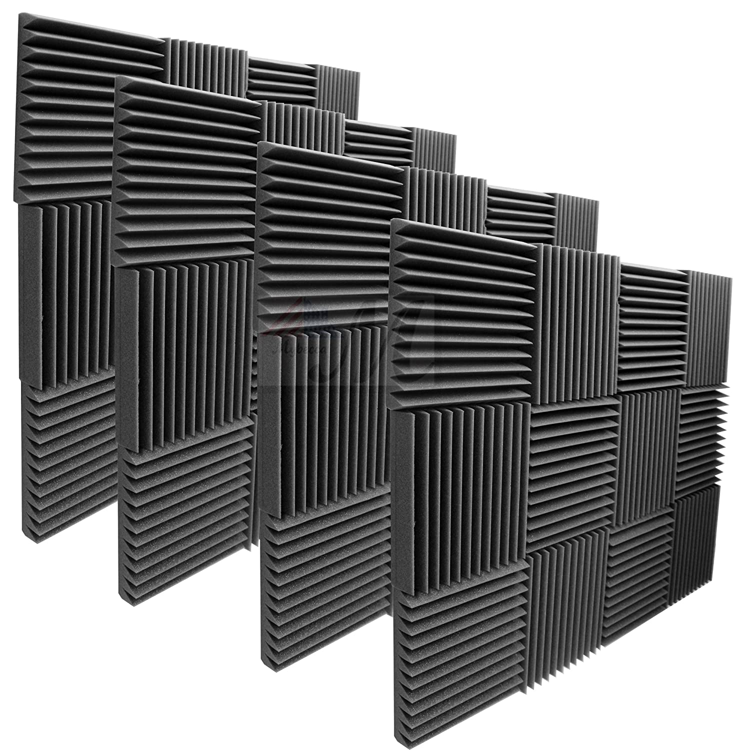 "Mybecca 48 Pack Acoustic Foam Panels 2"" X 12"" X 12"" Studio Wedges Wall Tiles (48 Square Feet), Charcoal"