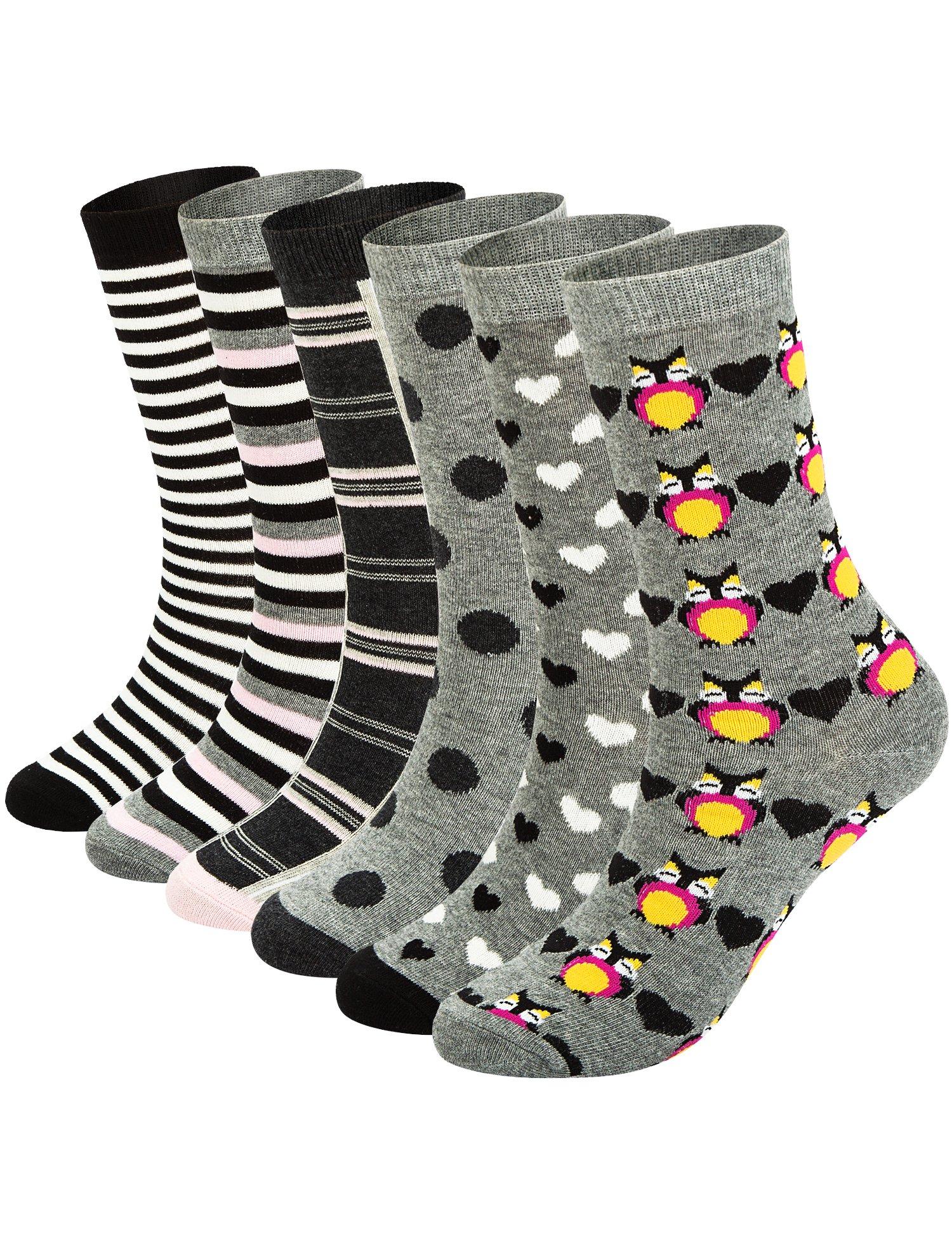 6 Pairs Womens Cotton Fun Crew Socks,Casual Animal,Striped,Polka Dot Printed, O/S
