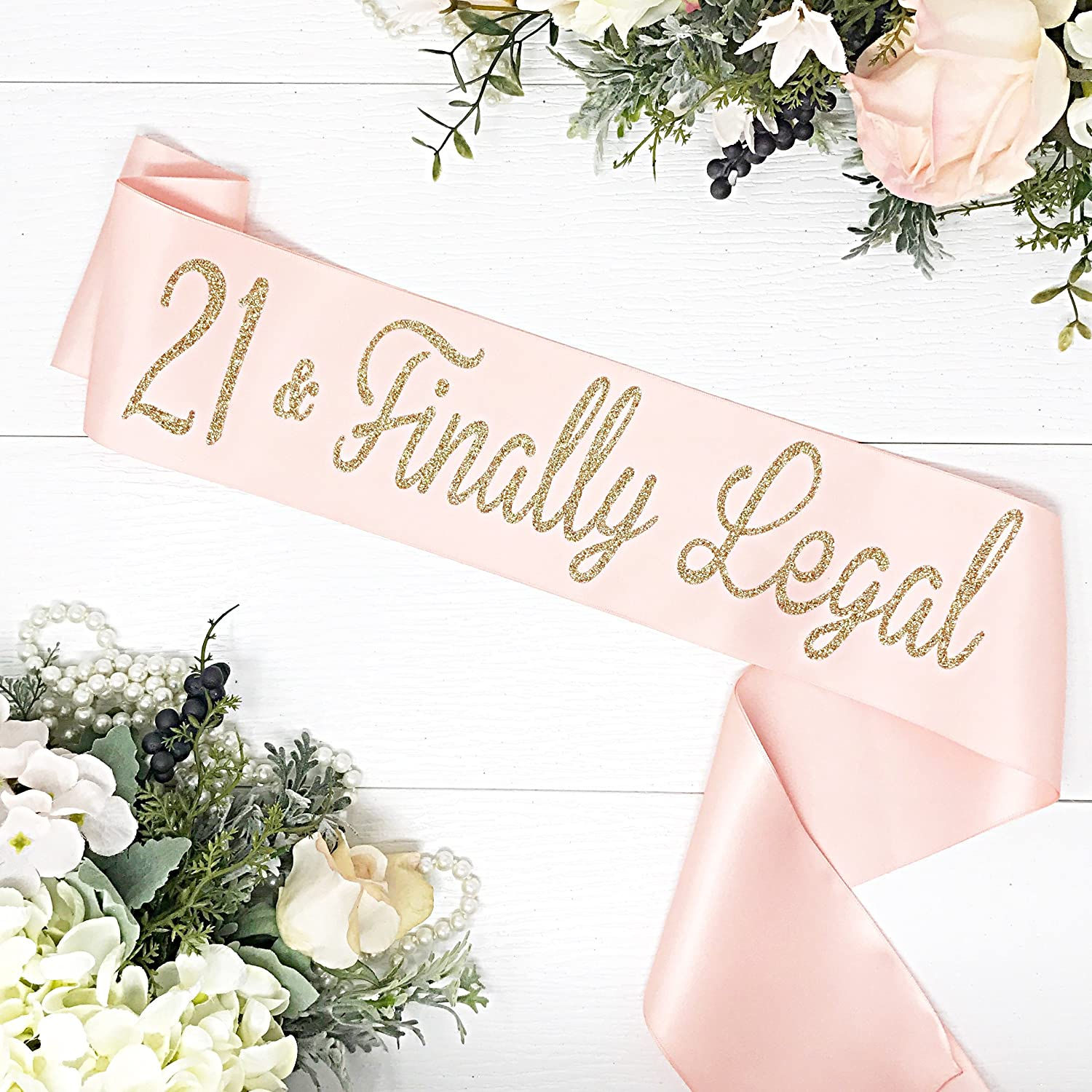 21st Birthday - Birthday Sash - Sunset Blush & Gold