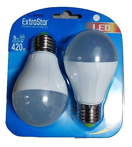 Juego 2 bombillas LED ExtraStar 5 W REF: b55 Pa 6500 K luz fría blanca