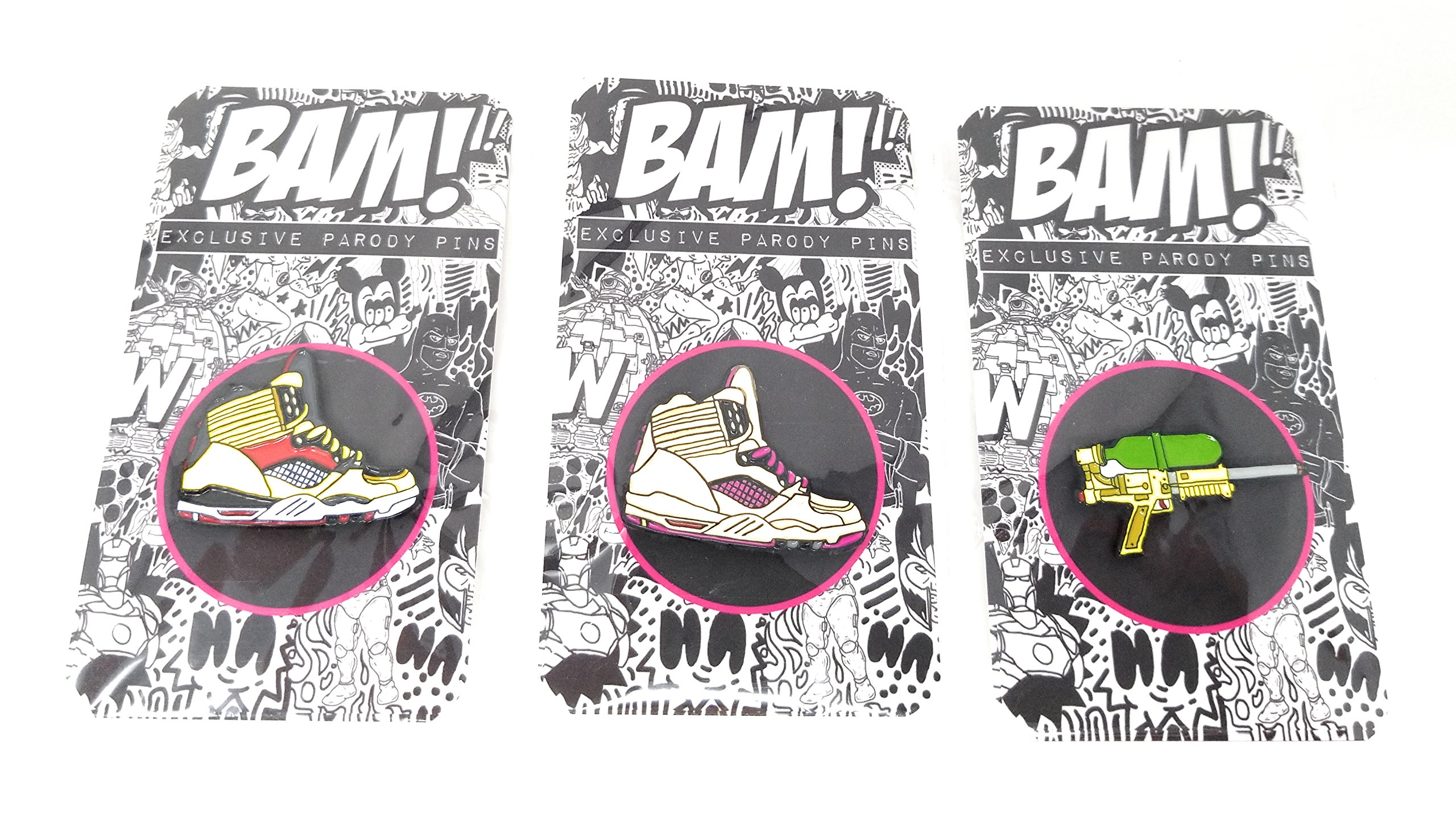 Rare Set of 3 '90's Variant BAM! Box Enamel Pins - 2 Air Jordans Sneaker Variants + Supersoaker